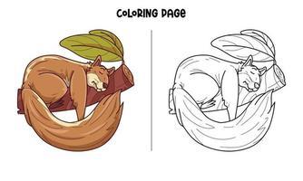 ardilla durmiendo en una rama para colorear página vector