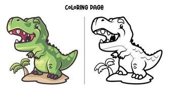 t-rex island para colorear vector