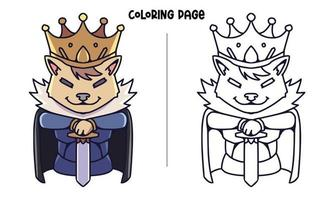 The Majesty Of Wolf Coloring Page vector