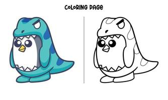 T-Rex Costume Penguin Coloring Page vector