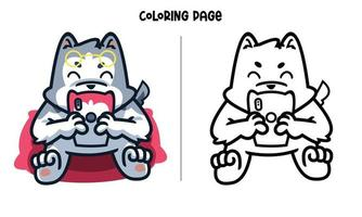 The Husky Stalking Crush Coloring Page vector