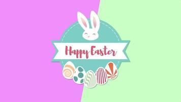 animierte Nahaufnahme glücklich Ostern Text und Kaninchen auf grünem und lila Schwindel video