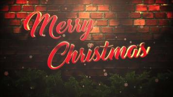 animerad text för god jul, vita snöflingor och träbakgrund video