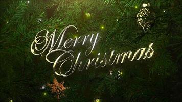 closeup animado com texto de feliz natal, bolas coloridas e galhos de árvores verdes em fundo brilhante