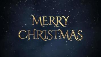 geanimeerde tekst van close-up vrolijke kerst, witte sneeuwvlokken op blauwe achtergrond video