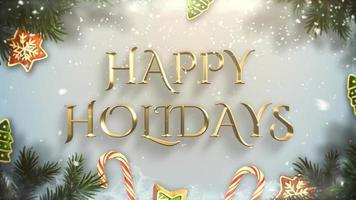 closeup animado texto de boas festas, galhos de árvores verdes e brinquedos em fundo de neve