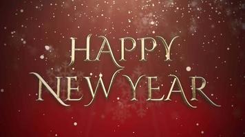 geanimeerde tekst van het close-up gelukkige nieuwe jaar, gouden deeltjes op rode achtergrond video