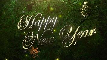 Texte de bonne année gros plan animé, boules colorées et branches d'arbres verts sur fond brillant video