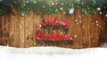 animerad text för god jul, vita snöflingor och träbakgrund