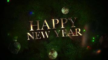 animerad närbild text för nytt år, färgglada bollar och gröna trädgrenar på blank bakgrund video