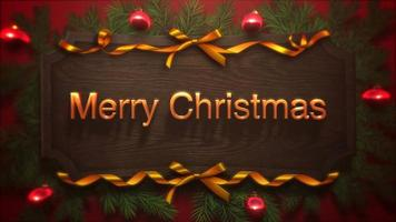 de geanimeerde tekst van close-up vrolijke Kerstmis, rode ballen en groene tak op houten achtergrond video
