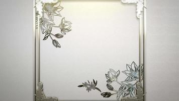 closeup moldura vintage com movimento de flores, plano de fundo do casamento