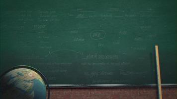 Closeup mathematical formula and elements on blackboard, school background of