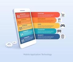 Ilustración de vector de tecnología de aplicaciones móviles