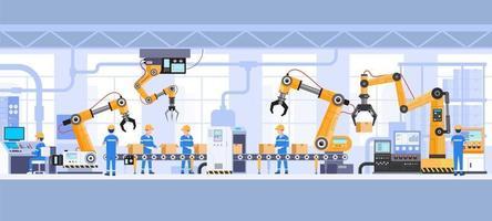 Industrial factory building inside vector illustration.