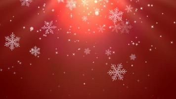 witte sneeuwvlokken, sterren en abstracte bokehdeeltjes vallen video