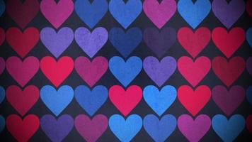 movimento padrão de corações coloridos, fundo abstrato video