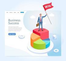 empresario con bandera roja de pie en la parte superior del gráfico circular infográfico. diseño conceptual de éxito empresarial. vector