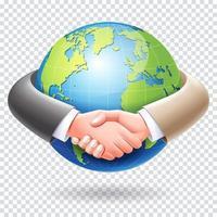 diseño conceptual de asociación empresarial. apretón de manos de la gente de negocios alrededor del fondo del globo del mundo. vector