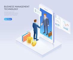 Business partnership conceptual design. Businessmen handshake together through mobile phone vector isometric