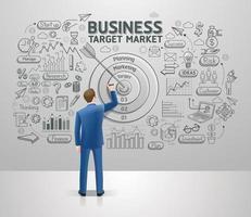 empresario dibujo mercado objetivo de idea de negocio en la pared. estilo de ilustración de vector de garabatos gráficos.