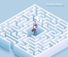 Business maze conceptual design. Businessman standing at labyrinth and thinking of finding a way out vector illustration.