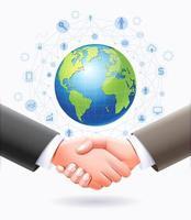diseño conceptual de asociación empresarial. apretón de manos de negocios con fondo de globo terráqueo. vector