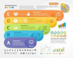 plantilla de diseño de infografías de negocios. ilustración vectorial. se puede utilizar para diseño de flujo de trabajo, diagrama, opciones numéricas, opciones de inicio, diseños web. vector