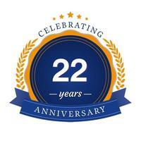 22 Year Anniversary Design Illustration vector