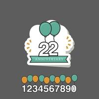22 Year Anniversary Template Design Illustration vector