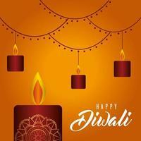 Happy diwali candles on orange background vector design