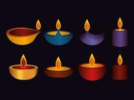 Happy diwali candle set vector design