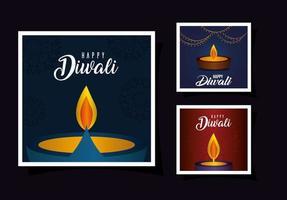 Happy diwali card set vector