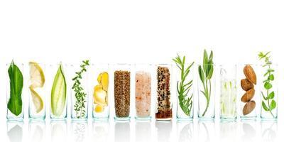 Fresh ingredients in viles