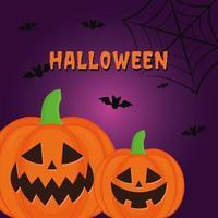 Calabaza de Halloween con murciélagos y diseño vectorial de telaraña vector
