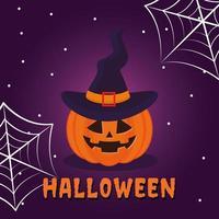 calabaza de halloween con sombrero y telarañas diseño vectorial vector