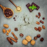 círculo de ingredientes de postre
