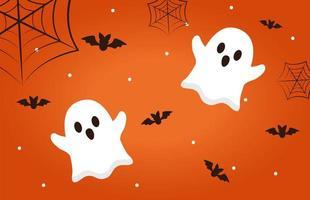 Halloween ghosts with bats vector design