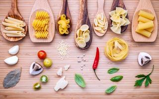 Pasta dish flat lay photo