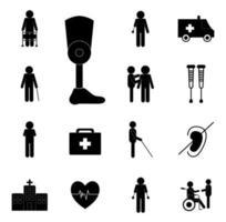 conjunto de iconos de discapacidad vector
