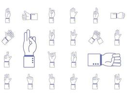 hand sign language alphabet icon set vector