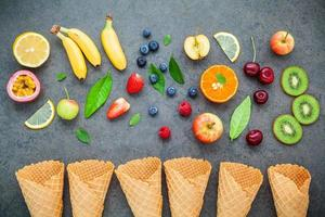 Flat lay of fruit and ice cream cones