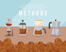métodos de café con diseño de vector de prensa francesa, olla, tetera y frijoles