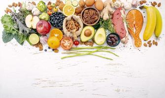 Fresh ingredients with copy space on a shabby white background photo