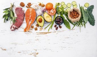 Top view of healthy foods and copy space