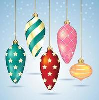 Christmas balls ornaments hanging on gold thread. Vector illustrations.