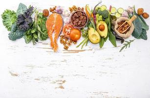 Healthy foods and copy space
