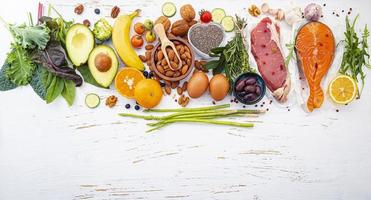Healthy foods and copy space top view