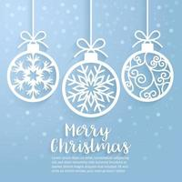 Merry Christmas ball paper cut art. Vector and illustration.