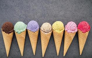 Flat lay of ice cream